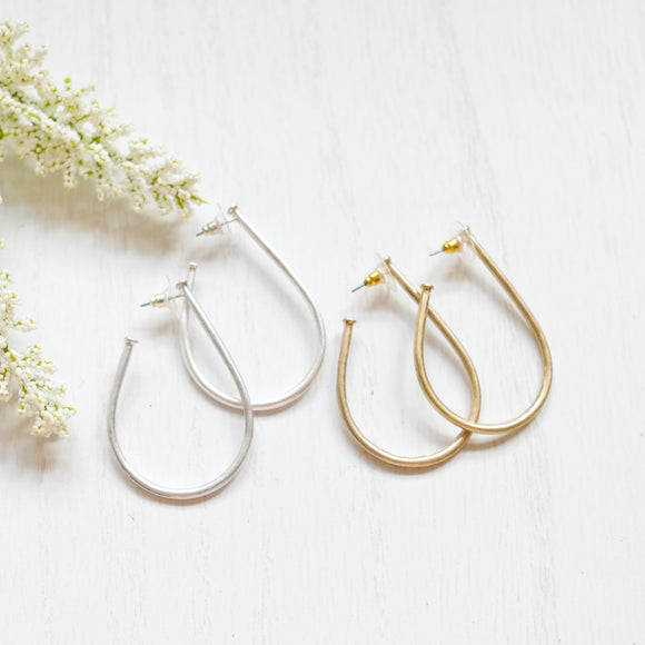 Metal Teardrop Hoop Earrings - Shoppe3130