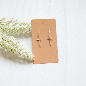 Silver Cross Earrings - Shoppe3130