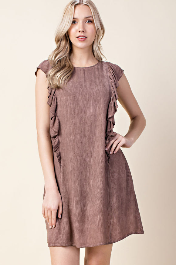 Crushed Ruffled Detail Dress