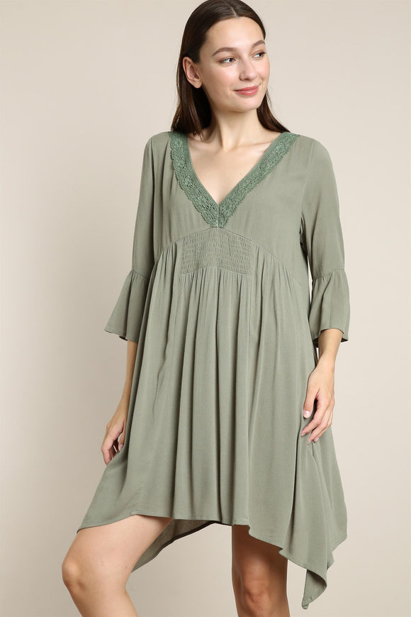 Olive V -Neck Lace Detail Dress in Plus