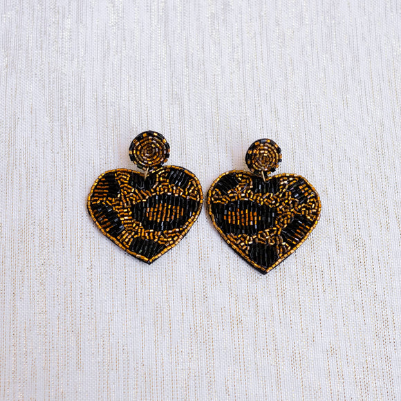 Gold Leopard Beaded Heart Earrings - Shoppe3130