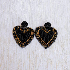 Black Solid Beaded Hearts - Shoppe3130