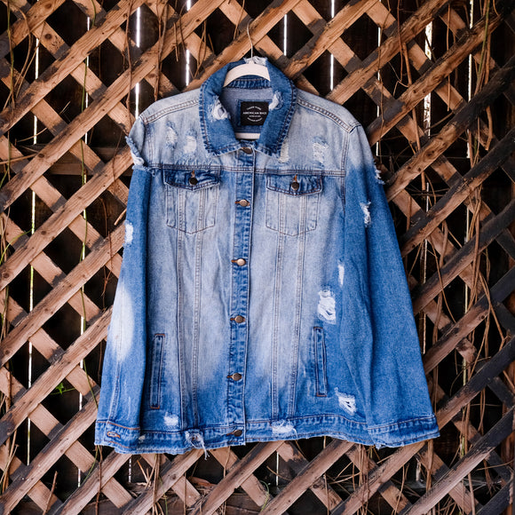 Plus Size Distressed Denim Jacket - Shoppe3130