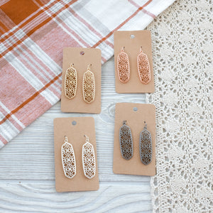 Filigree Bar Metal Earrings - Shoppe3130