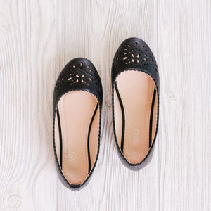 Black Laser Cut Flats - Shoppe3130