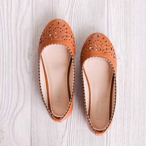 Tan Laser Cut Flats - Shoppe3130