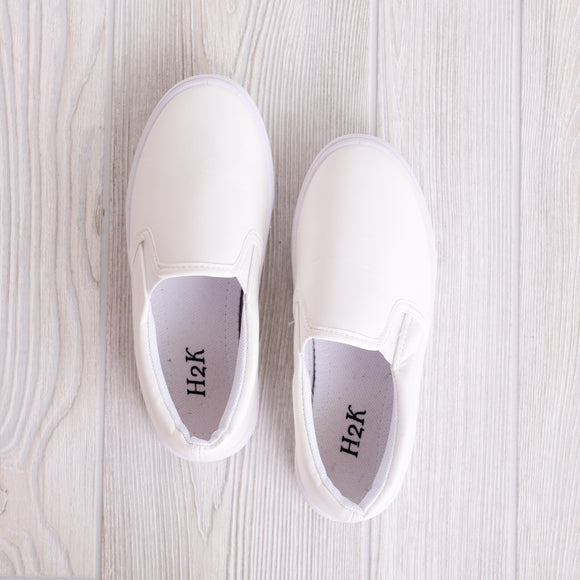 Kids White Slip On Sneakers - Shoppe3130