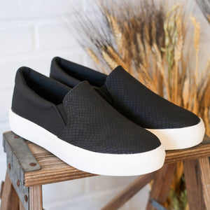 Black Python Slip On Sneakers