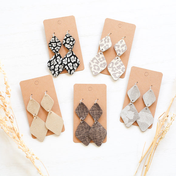 Genuine Leather Double Diamond Earrings