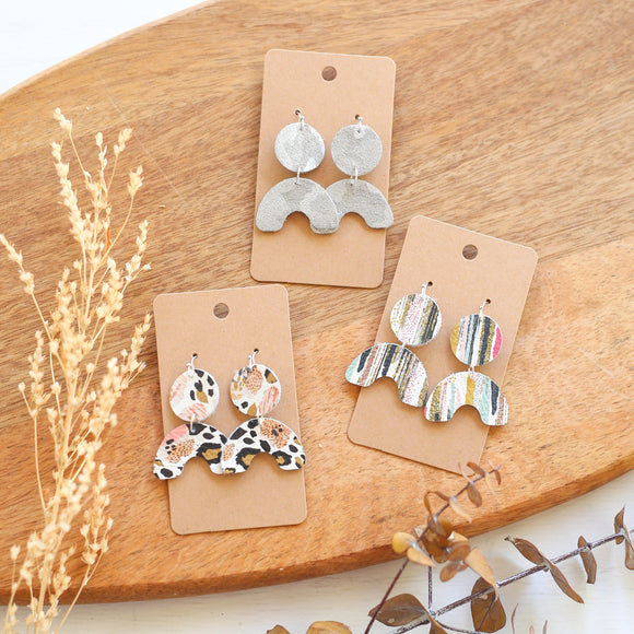Genuine Leather Mini Rainbow Earrings
