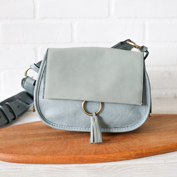 Luna Teal Two Tone Suede Crossbody