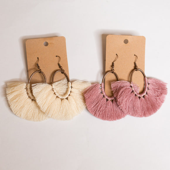 Oval Tassel Fan Earrings - Shoppe3130