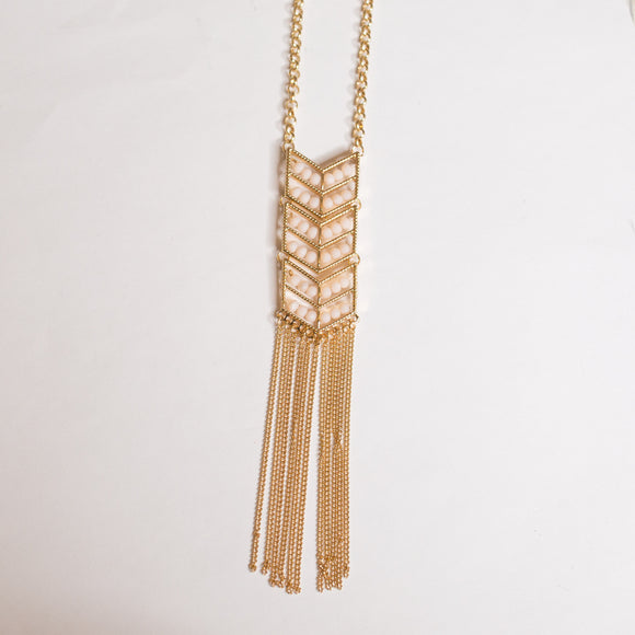 Gold Blush Fringe Chain Necklace - Shoppe3130