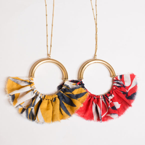 Fabric Circle Necklace - Shoppe3130