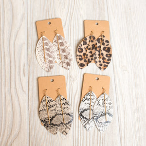 Animal Print Leather Feather with Bar Earrings - Shoppe3130