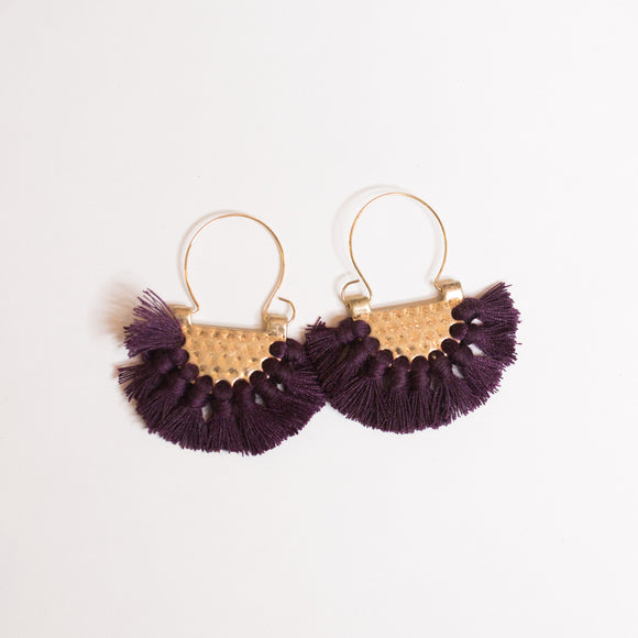 Purple Hammered Tassel Earrings - Shoppe3130