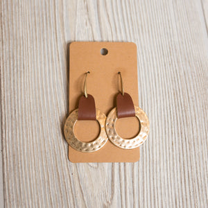 Hammered Leather Circle Earrings - Shoppe3130