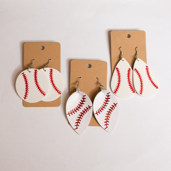 Leather Baseball Earrings - Shoppe3130