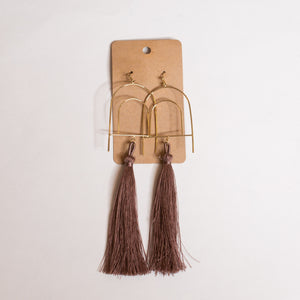 Long Dusty Mauve Tassel Earrings - Shoppe3130