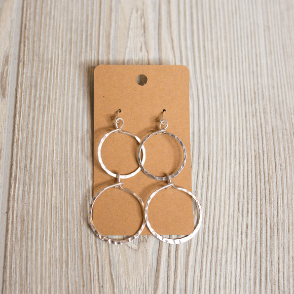 Hammered Double Circle Earrings - Shoppe3130