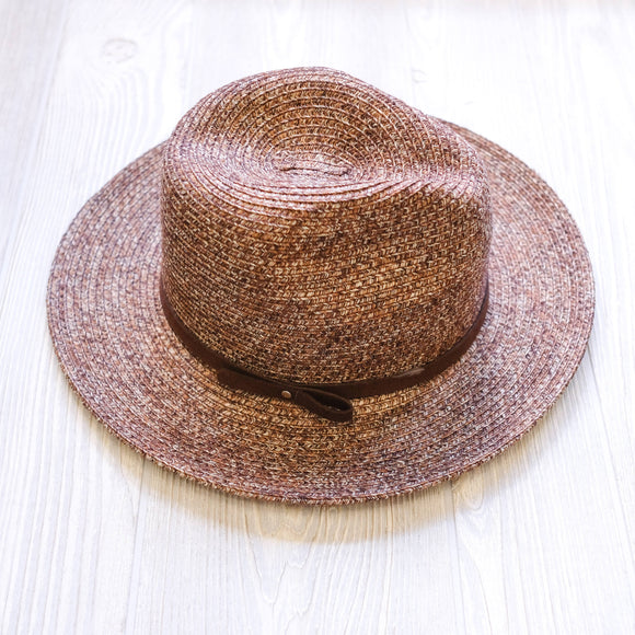Faux Thin Leather Straw Hat