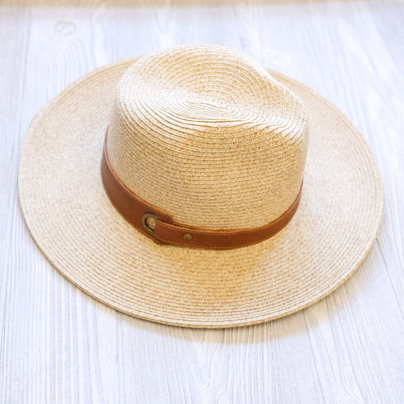 Faux Leather Straw Hat