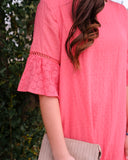 Coral Eyelet Ruffle Dress