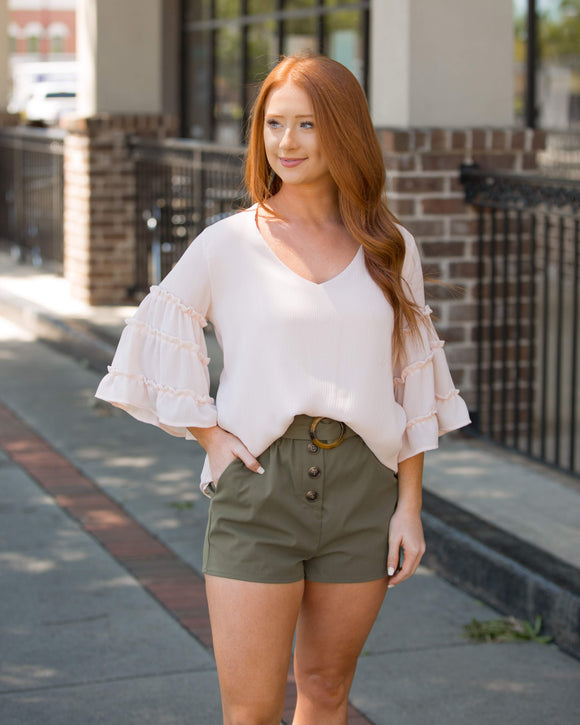 Olive PaperBag Shorts - Shoppe3130