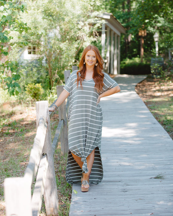 Stripe Maxi Dress Light Olive And Cream - Shoppe3130