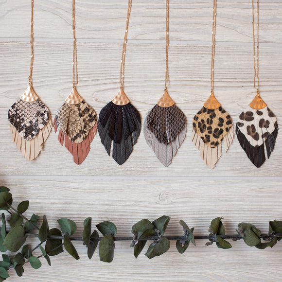 Leather Feather Necklace - Shoppe3130