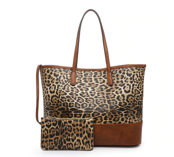 Leopard Tote w/ Pouch