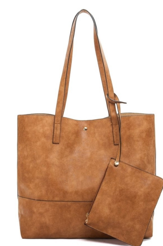 Taupe Tote Bag with Pouch - Shoppe3130