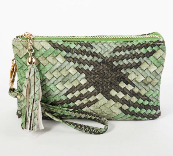 Green Woven 3 Compartment Wristlet Crossbody