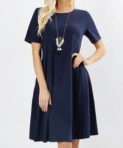Navy A Line Dress - Shoppe3130