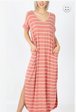 Stripe Maxi Dress Ash Rose and Cream - Shoppe3130