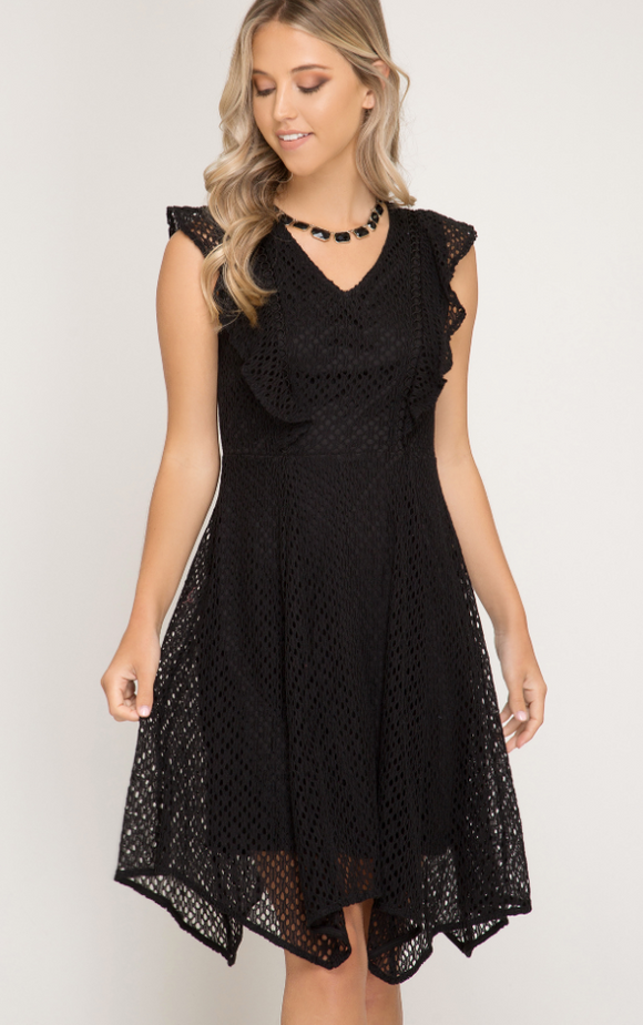 Black Ruffled Sleeve Lace Dress - Shoppe3130