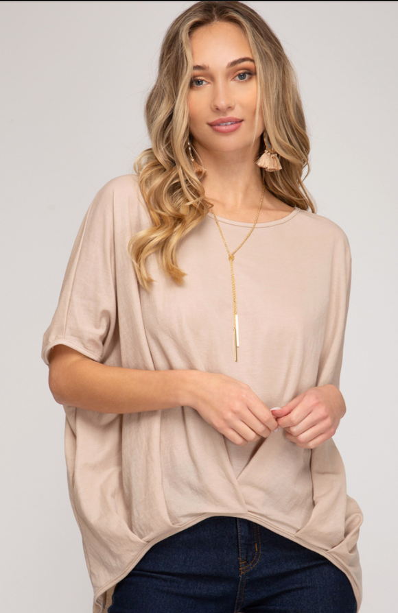 Light Taupe Drop Shoulder Top - Shoppe3130