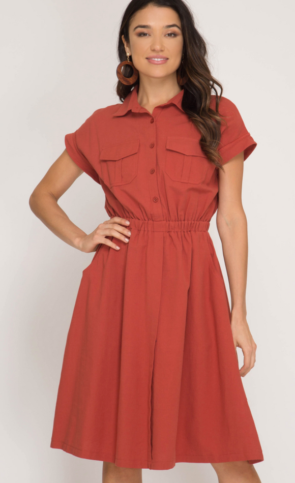Utility Style Rust Colored Dress - Shoppe3130