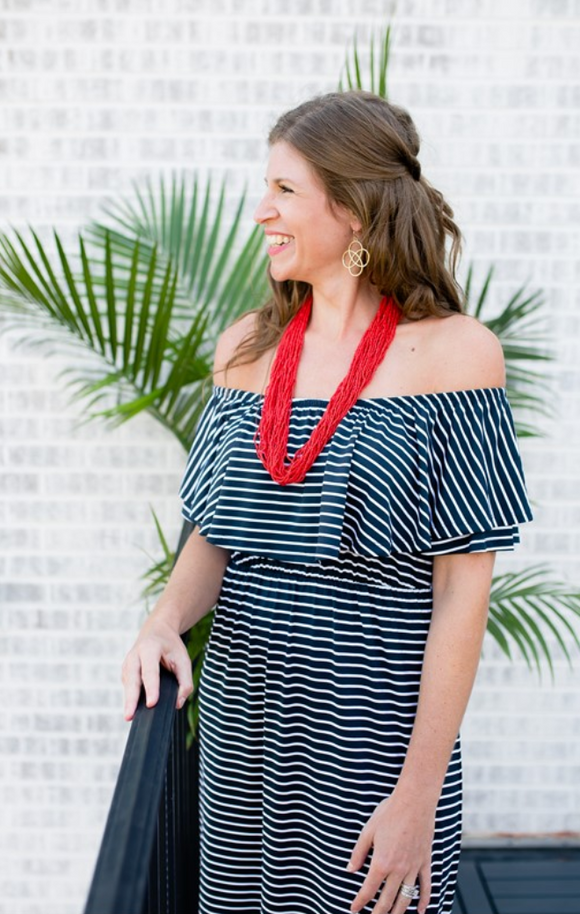 Black Striped Ruffle Maxi Dress - Shoppe3130