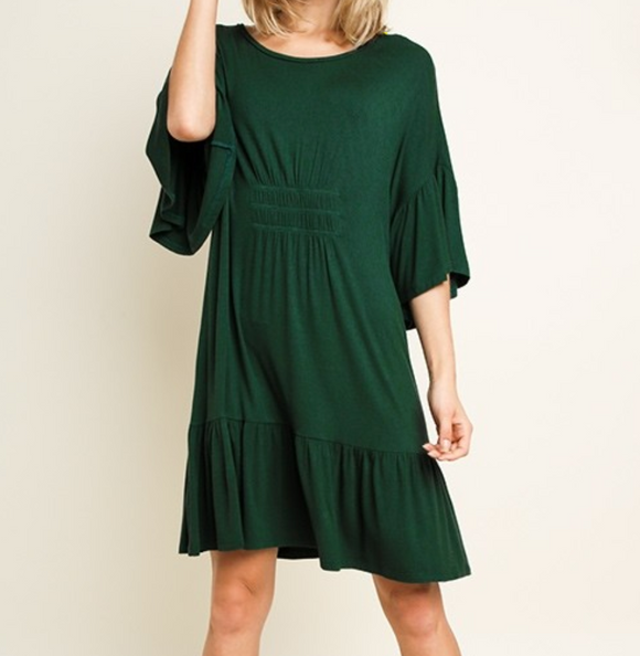 Bell Sleeve Scoop Neck Dress - Shoppe3130