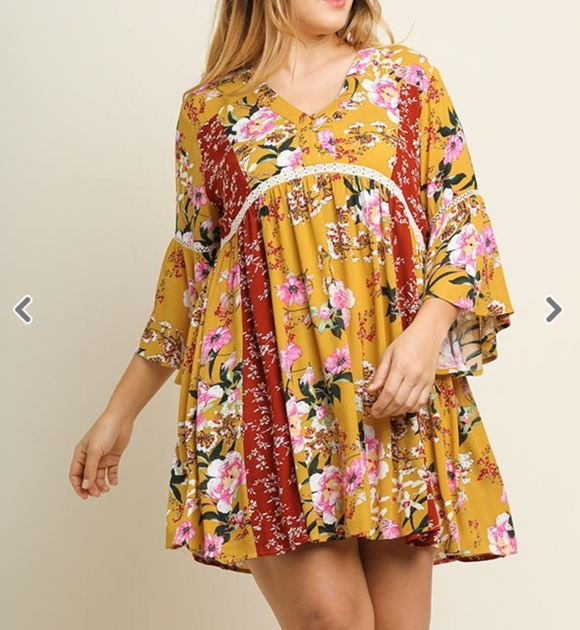 Mango Multi-Floral Bell Sleeve Dress - Shoppe3130