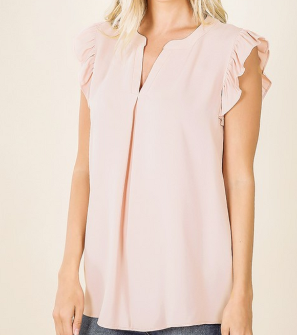 Peach Ruffle Sleeve High-Low Top - Shoppe3130