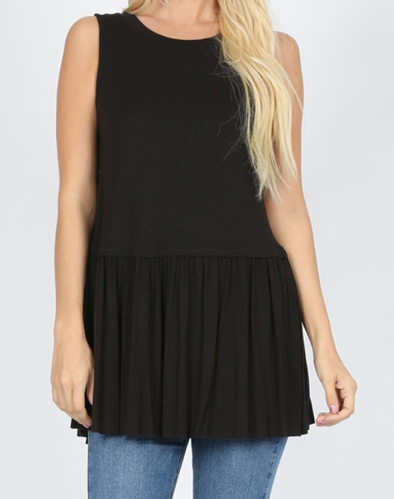 Black Ruffle Bottom Sleeveless Tank - Shoppe3130