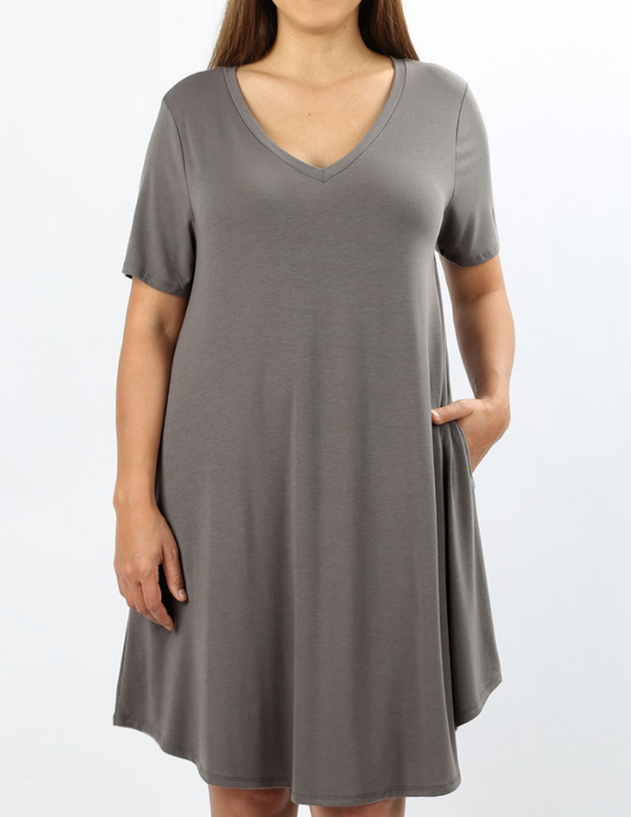 Mid-Grey Tshirt Dress - Shoppe3130