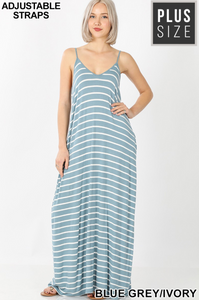 Plus Striped Cami Maxi Dress with Pockets - Shoppe3130