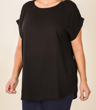 Rolled Boat Sleeve Dobby Top - Shoppe3130