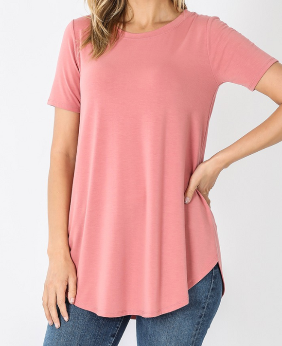Dusty Pink Short Sleeve Round Neck Basic Tee - Shoppe3130