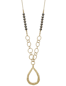 "Gold Teardrop with Light Mocha Crystal 34"" Necklace - Shoppe3130"