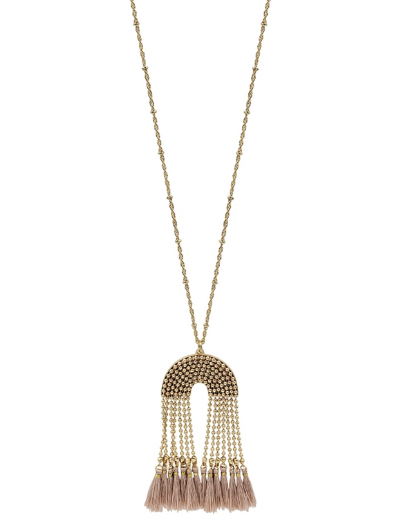 Gold Beaded Chain with Pink Tassel Necklace