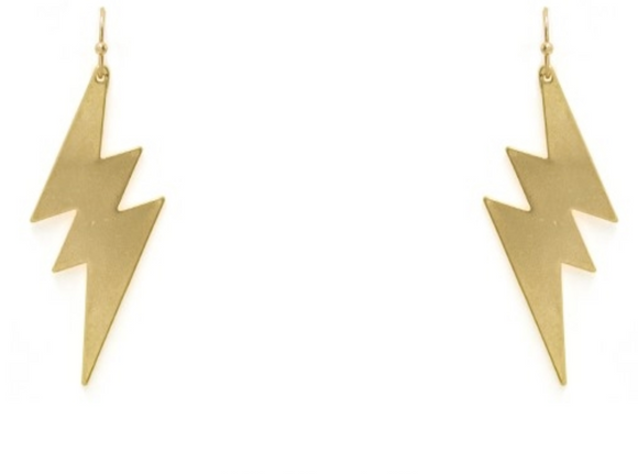 Brushed Gold Lightening Bolt Earrings - Shoppe3130